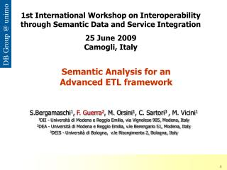 Semantic Analysis for an  Advanced ETL framework