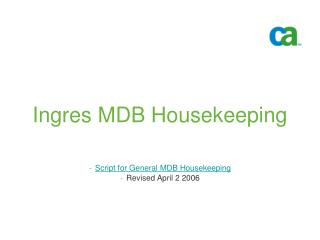 MDB Housekeeping ppt