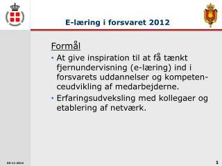 E-læring i forsvaret 2012