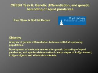 CRESH Task 6: Genetic differentiation, and genetic barcoding of squid paralarvae