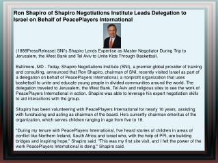 Ron Shapiro of Shapiro Negotiations Institute Leads Delegati
