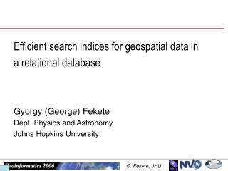 Efficient search indices for geospatial data in a relational database