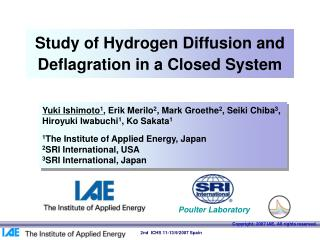Study of Hydrogen Diffusion and Deflagration in a Closed System