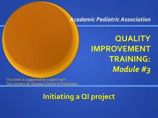 Academic Pediatric Association QUALITY IMPROVEMENT TRAINING:  Module #3