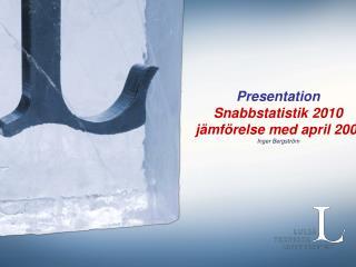 Presentation  Snabbstatistik 2010  jämförelse med april 2009 Inger Bergström