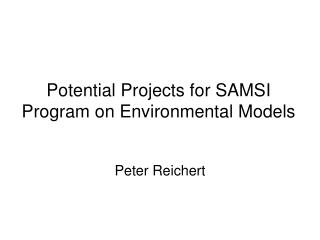 Potential Projects for SAMSI Program on Environmental Models