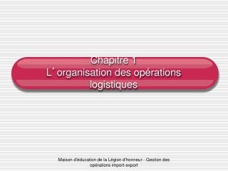 Chapitre 1 L ' organisation des opérations logistiques