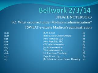 Bellwork  2/3/14