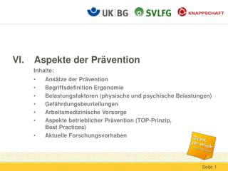 VI.	Aspekte der Pr�vention