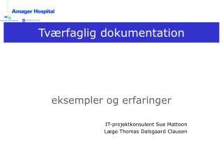 eksempler og erfaringer IT-projektkonsulent Sue Mattoon Læge Thomas Dalsgaard Clausen