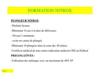 FORMATION NITROX