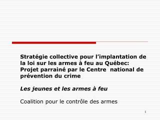 Strat gie collective pour l implantation de la loi sur les armes   feu au Qu bec: Projet parrain  par le Centre  nationa