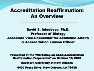 Accreditation  Reaffirmation:  An  Overview