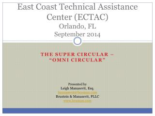 East Coast Technical Assistance Center (ECTAC) Orlando, FL September 2014