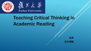 Teaching Critical Thinking in Academic Reading