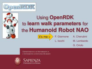 Using OpenRDK to learn walk parameters for the Humanoid Robot NAO