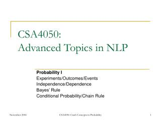 CSA4050: Advanced Topics in NLP