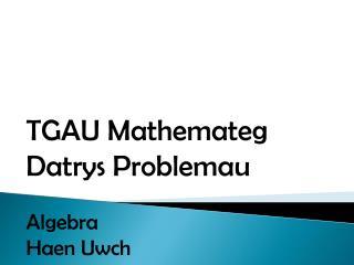 TGAU  Mathemateg Datrys Problemau Algebra Haen Uwch