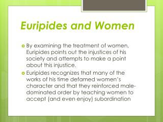 Euripides and Women