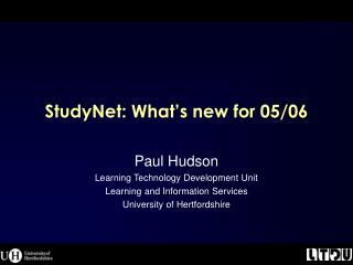 StudyNet: What's new for 05/06