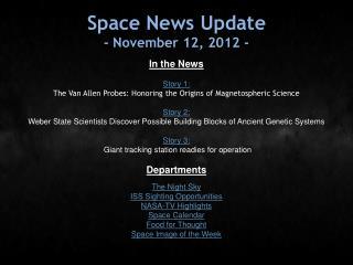 Space News Update - November 12, 2012 -