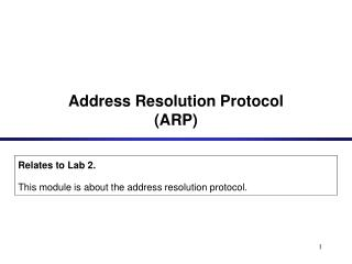 Address Resolution Protocol ARP