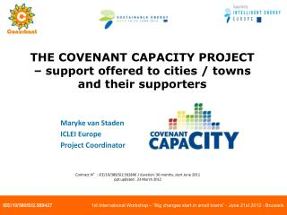 THE COVENANT CAPACITY PROJECT – support offered to cities / towns and their supporters