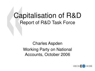 Capitalisation of R&D Report of R&D Task Force