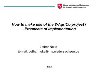 How to make use of the WAgriCo project? - Prospects of implementation