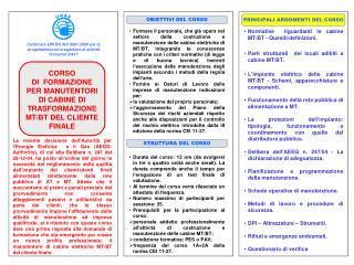 CORSO  DI  FORMAZIONE PER MANUTENTORI DI CABINE DI TRASFORMAZIONE MT/BT DEL CLIENTE FINALE