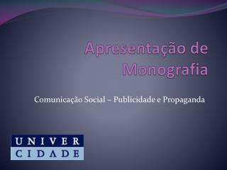 Apresentação de Monografia