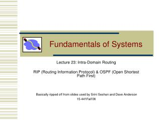 Fundamentals of Systems