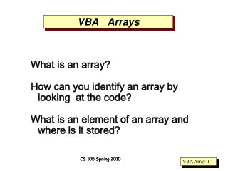 VBA   Arrays