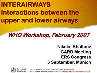 INTERAIRWAYS Interactions between the upper and lower airways WHO Workshop, February 2007