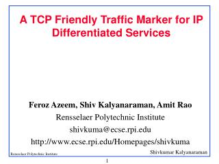 A TCP Friendly Traffic Marker for IP Differentiated Services
