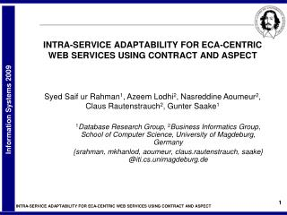 INTRA-SERVICE ADAPTABILITY FOR ECA-CENTRIC WEB SERVICES USING CONTRACT AND ASPECT