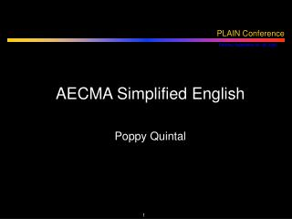 AECMA Simplified English Poppy Quintal