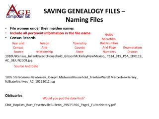 SAVING GENEALOGY FILES – Naming Files
