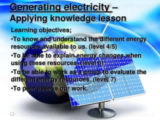Generating electricity  –  Applying knowledge lesson