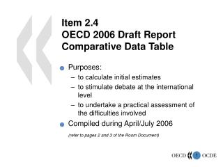 Item 2.4 OECD 2006  Draft Report Comparative Data Table
