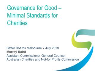Governance for Good – Minimal Standards for Charities