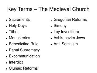 Key Terms � The Medieval Church