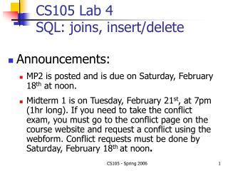 CS105 Lab 4 SQL: joins, insert/delete