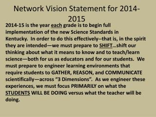 Network Vision Statement for 2014-2015