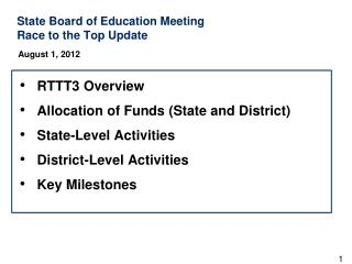 State Board of Education Meeting  Race to the Top Update