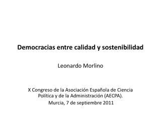 Democracias entre calidad y sostenibilidad