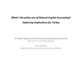 What's the policy use of Natural Capital Accounting?  Exploring  implications for Turkey