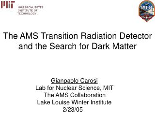The AMS Transition Radiation Detector and the Search for Dark Matter
