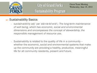 City of Grand Forks  Sustainability Program