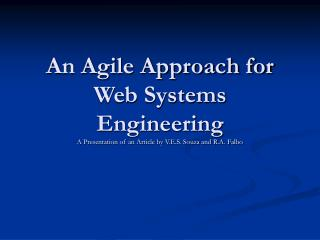 An Agile Approach for Web Systems Engineering
